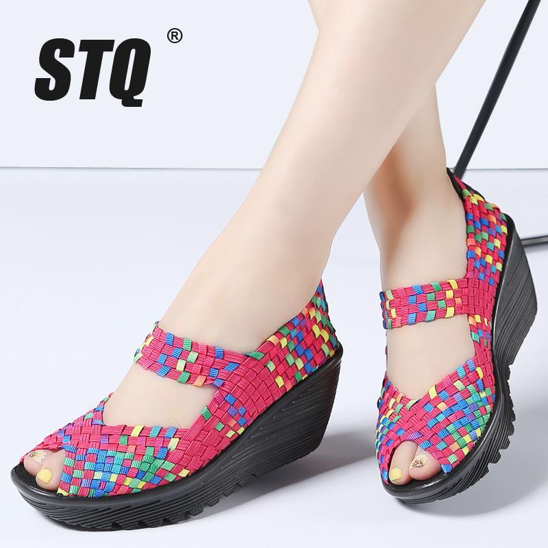 7185ae7fb169 STQ 2018 Summer Women Platform Sandals Shoes Women Woven Flat Shoes Flip  Flops High Heel Plastic Ladies Slip On 559 Sandals For Men Jelly Sandals  From Bking ...