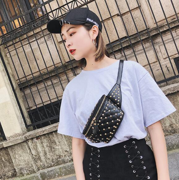 e92095c00 2019 Street Style Women Rivet Fanny Pack PU Leather Shoulder Crossbody  Chest Belt Bags Rivets Waist Bags CCA10456 From Sport_no1, $9.15 |  DHgate.Com