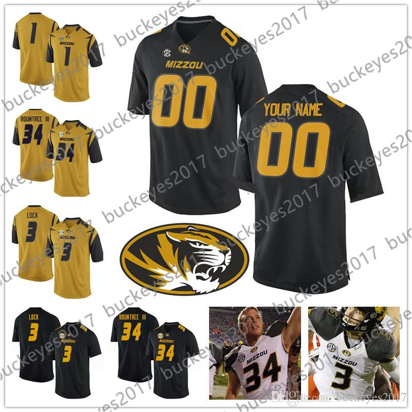 2019 Custom Mizzou Missouri Tigers Any Name Number Stitched Black White  Gold NCAA College Football Jersey  8 Justin Smith 34 Larry Rountree III  From ... de187bf54