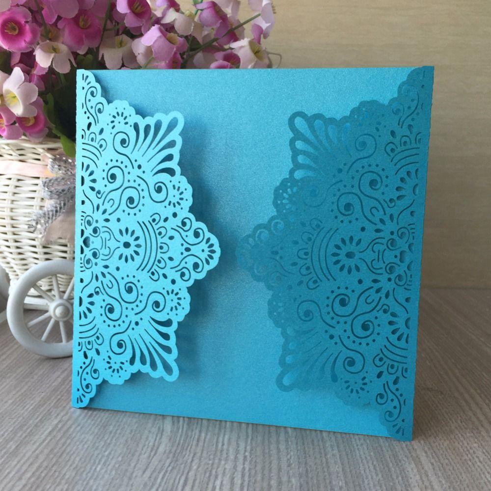 Sky Blue Color Romantic Wedding Party Invitation Card Delicate