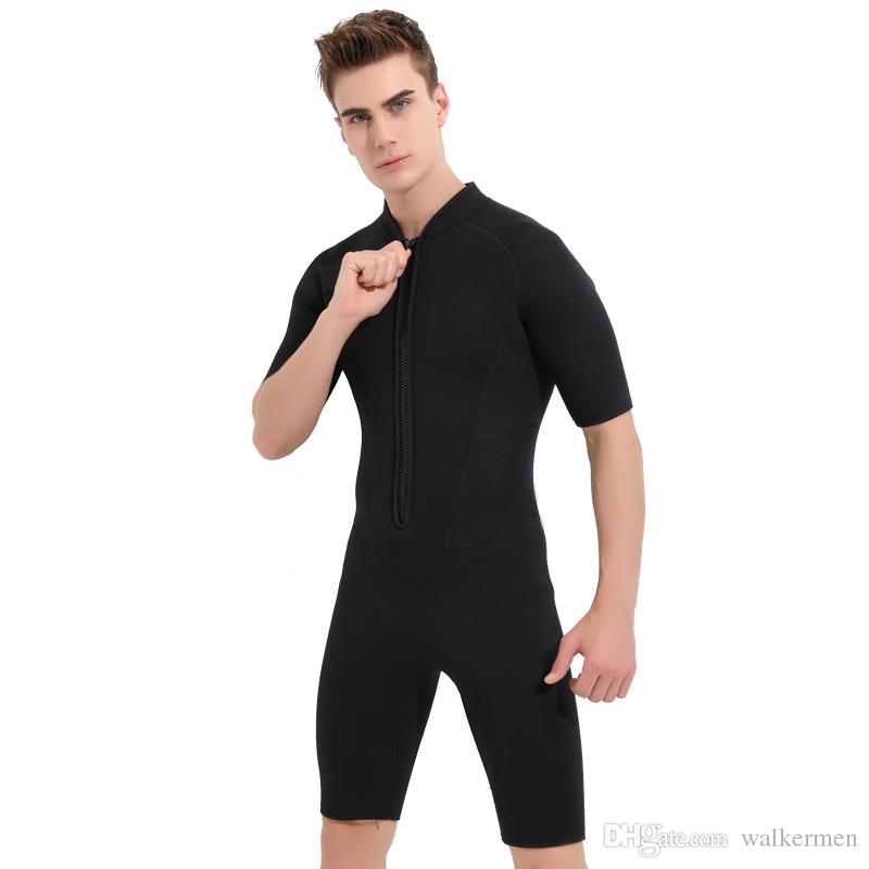 Compre SBART 3MM Trajes De Neopreno Hombres Para Natación Buceo Surf  Mergulho Equipos Negro Sólido Una Pieza De Manga Corta Traje Húmedo Triatlón  L A  85.41 ... 2487c088c6c