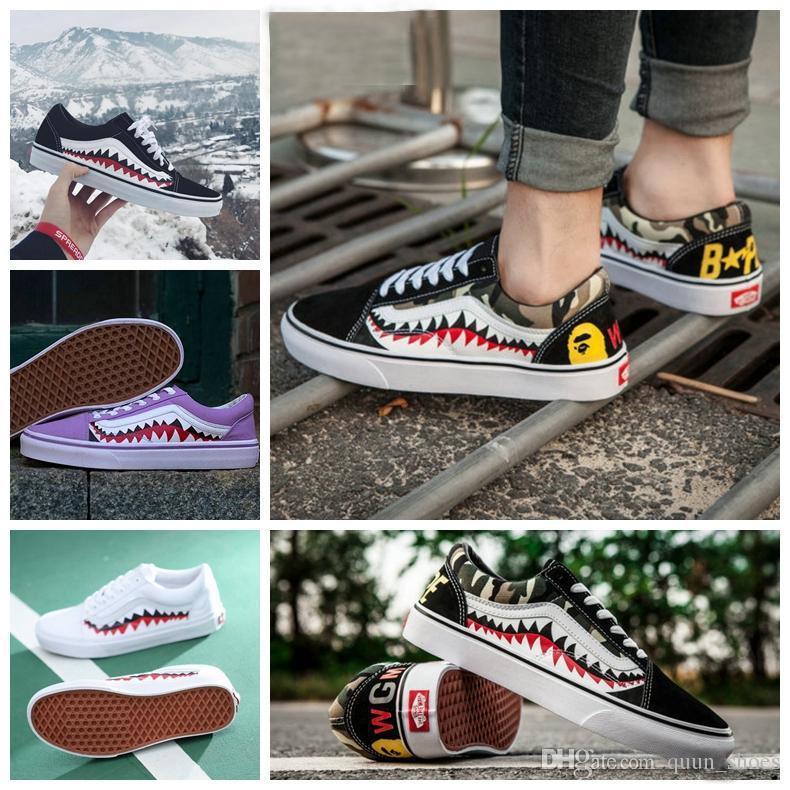 2018 New Sharktooth Custom Sneakers Women Mens BapeCamo Black White ... 727c83bc16