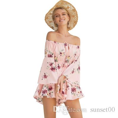 f9ae9c363b 2019 Women Jumpsuits Floral Printed Strapless Blouse Folded Bare Shoulder  Horn Sleeve Holiday Beach Loose Sexy Elegant Ladies Rompers Pink From  Sunset00