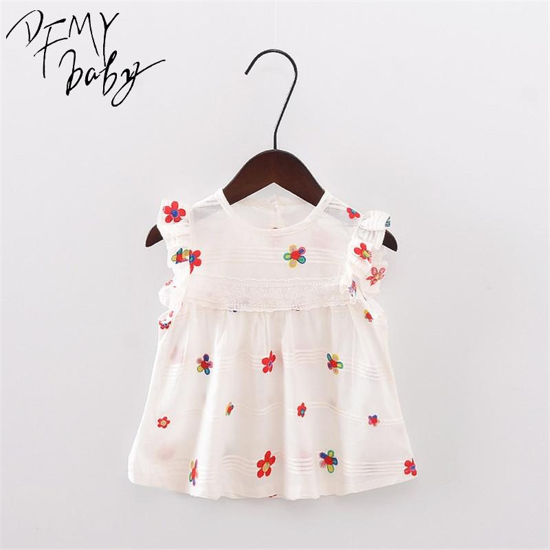 Summer Girl Dress New Butterfly Strawberry Flowers Pattern Baby Girl Dress Bambini bambini senza maniche abiti da fiori carino