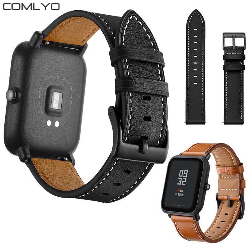 0ed2aced7d7 Chegada nova preto pulseira de couro fivela para Xiaomi Huami Amazfit Bip  Bit Esporte relógio Inteligente Banda pulseira de fitness rastreador  pulseira