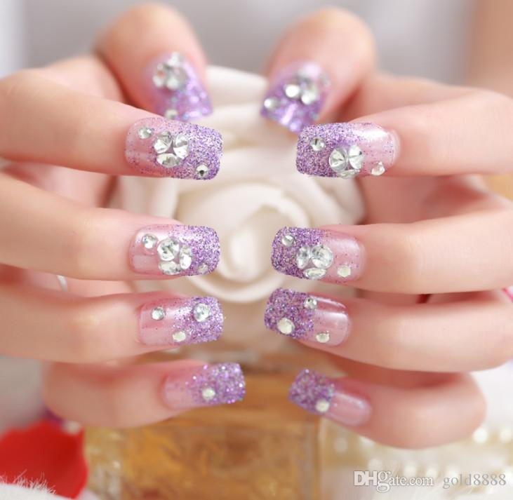 Purple Fake Nails Glitter New Design 3d Artificial Shinning
