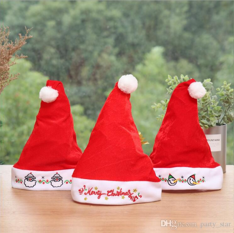 58895261ffd24 Newest Adult Kids Santa Claus Christmas Hats Free Size Merry Christmas  Letters Hat Decorations Party Caps Prop Party Hat Designs Party Hat Diy  From ...