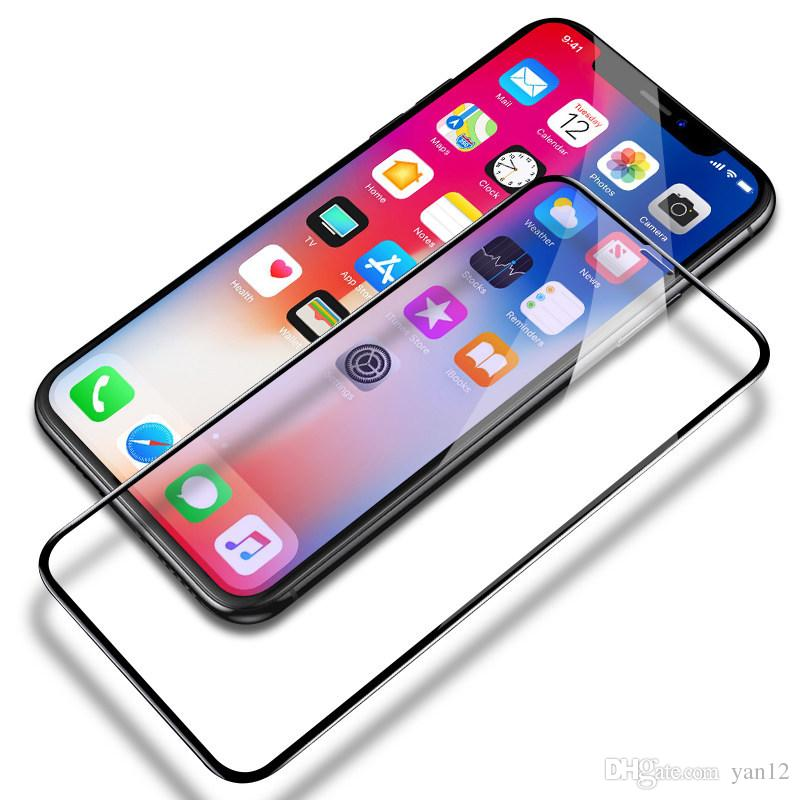 For iPhone XS Max XR Tempered Glass 3D 9H Full Screen Cover Explosion-proof  Screen Protector Film for iPhone X 8 Plus 7 6 6S Plus iPhoneX