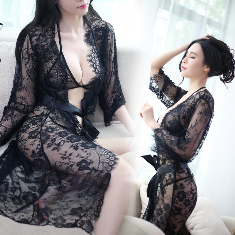 64d5abc607c 2019 Sexy Lingerie Ladies And Elegant Open Skirt Ultra Thin Perspective All  Lace Home Pajamas Suit T Pants Tie A Sleeping Skirt Robe From Chencloth66