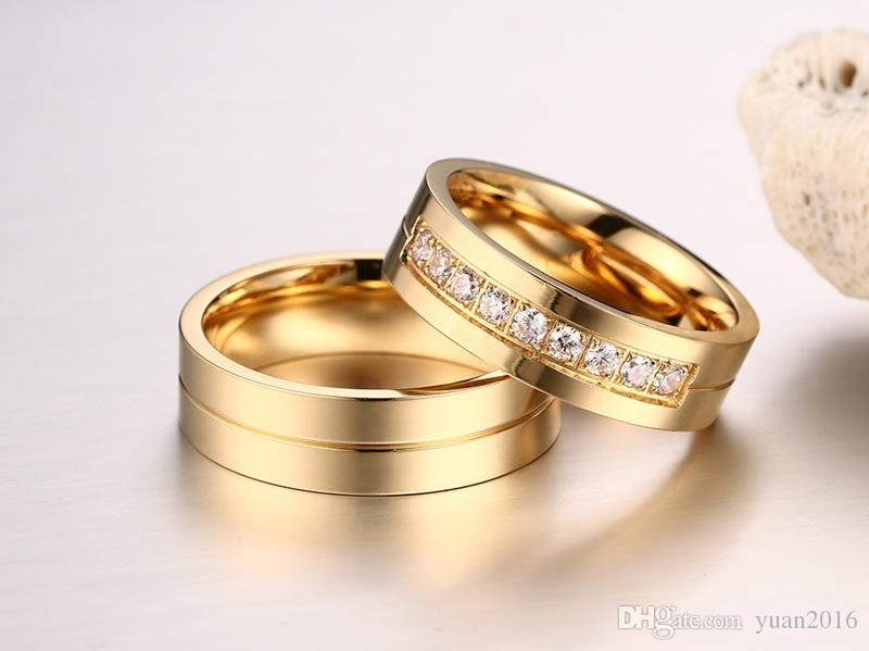 Alianças de casamento Anéis para As Mulheres / Homens Amor de Ouro-cor Aço Inoxidável 316L CZ Promessa Jóias Venda Quente nos EUA e na Europa Frete Grátis