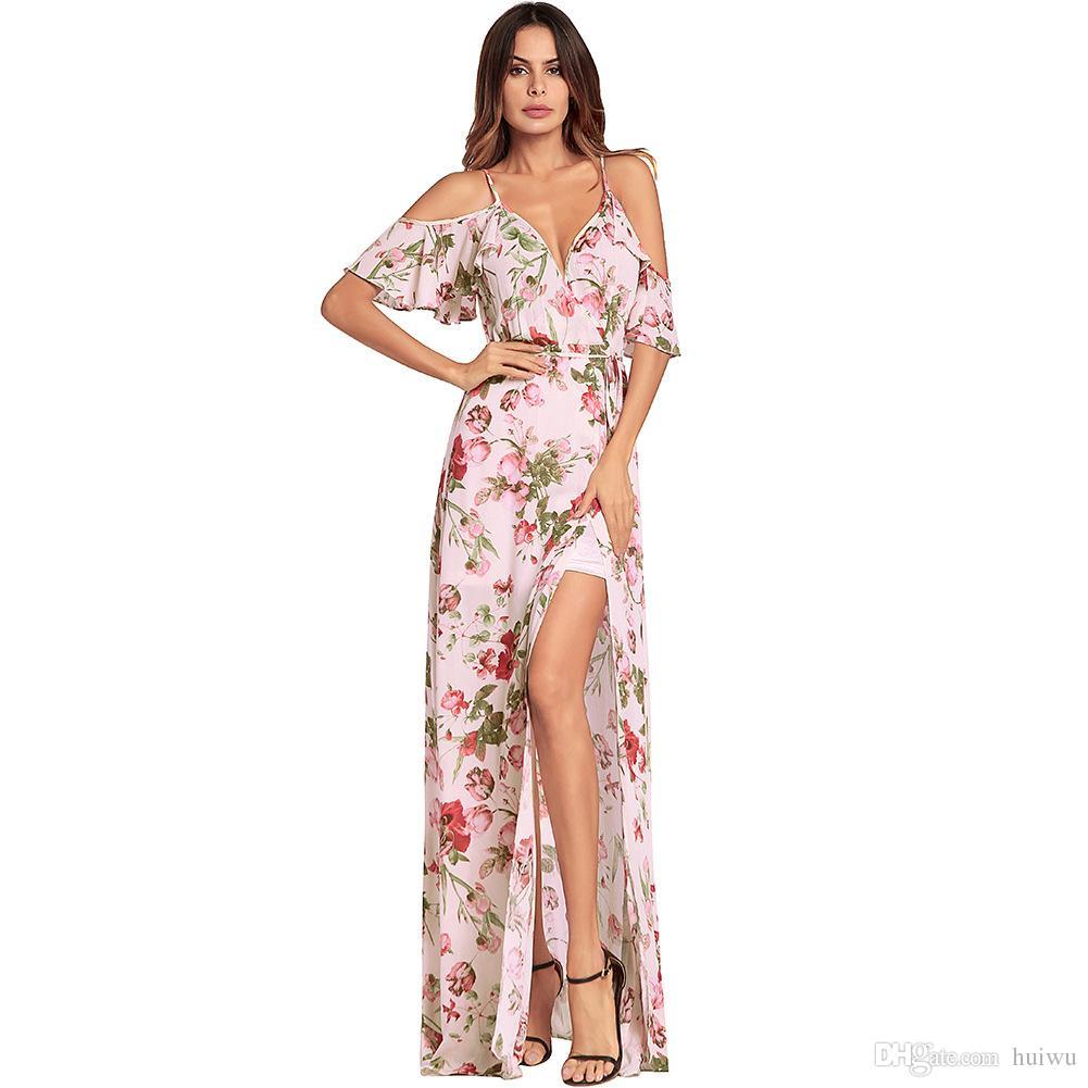 ca84dcf65ff3 Compre Mulheres Floral Imprimir Ruffles Chiffon Maxi Vestidos Strap V Neck  Praia Split Vestido De Verão Sexy Backless Vestido Longo Vestidos De Huiwu,  ...