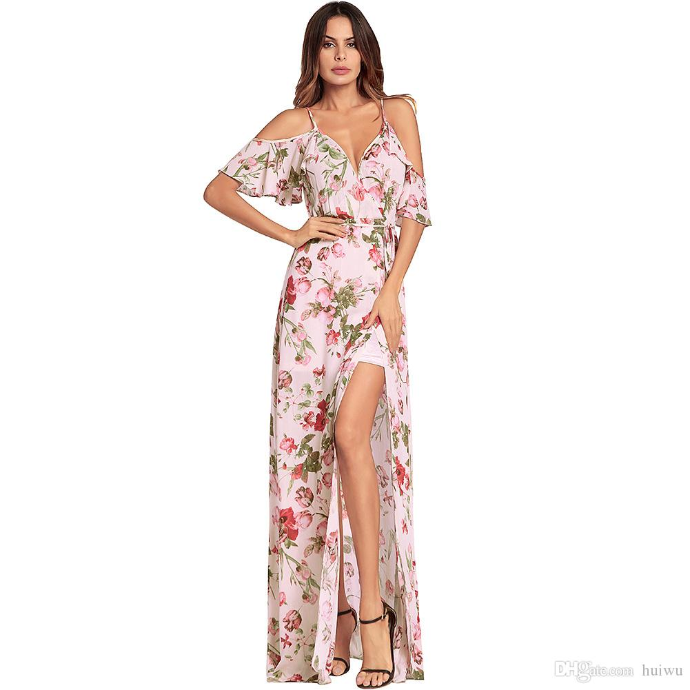 38b71c5ee4b6 Women Floral Print Ruffles Chiffon Maxi Dresses Strap V Neck Split Beach  Summer Dress Sexy Backless Dress Long Vestidos Womens Short Dresses Dress  For A ...