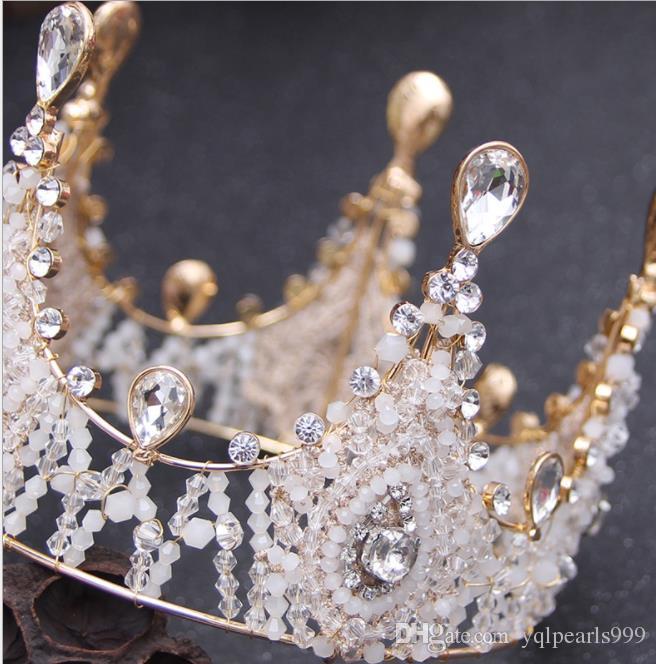 European and American antique crystal handmade bridal crown ornament crown bridal headwear