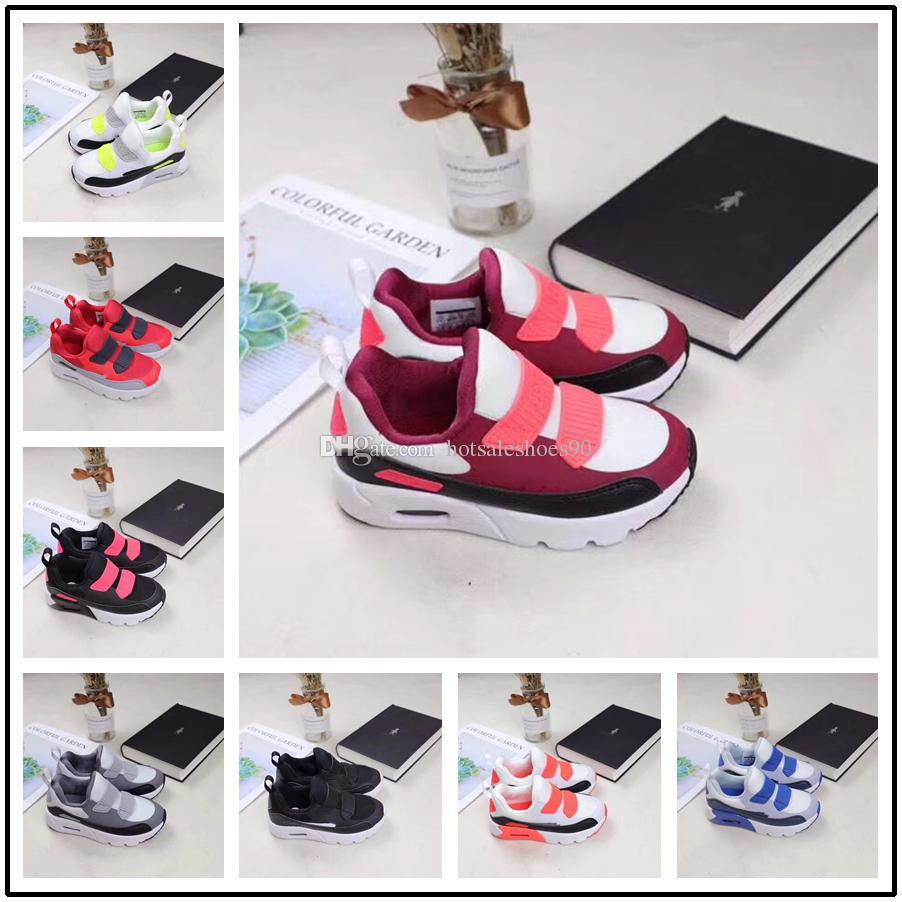 release date eded6 6b6e8 Compre Nike Air Max Airmax 90 2018 Primavera Otoño Zapatos Para Niños 90  Rosa Rojo Negro Transpirable Cómodo Niños Zapatillas Niños Niñas Niño  Zapatos Bebé ...