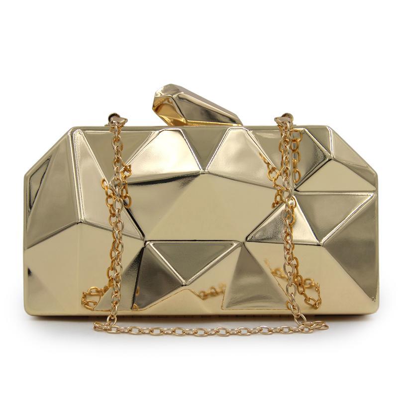 1216bec49 Compre Sacos De Embreagem Das Mulheres De Ferro Caixa De Luxo Bolsas De  Ouro Saco De Noite De Casamento Da Noiva Bolsa Rhombus Senhoras Pequenas  Sacos De ...