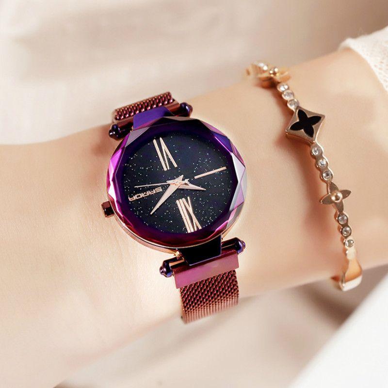 985b0691170 Compre Estrelado Relógio Feminino Ímã De Pedra Relógio Feminino Quartzo  Cinto De Malha De Milão De Beasy110