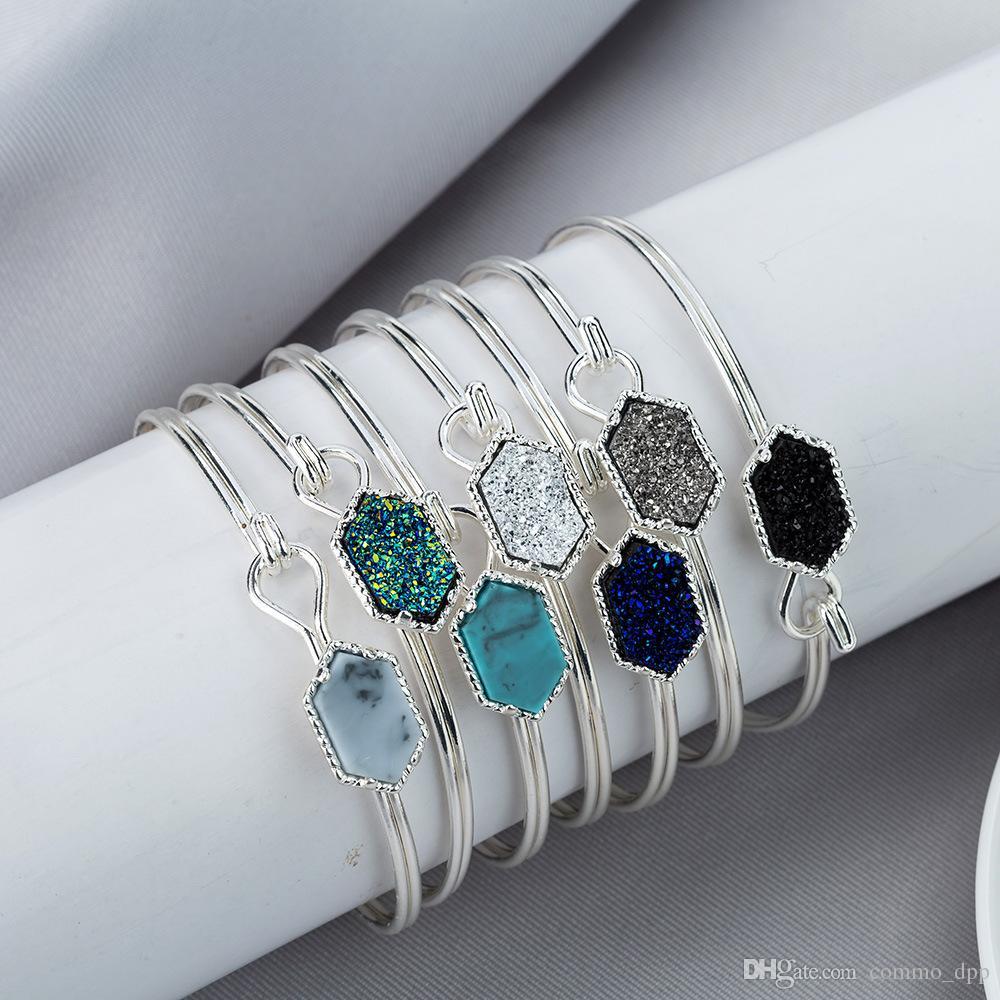 Luxury Brand designer Druzy wire Bangle faux Geometric Natural stone charm bracelets For women s Fashion Jewelry Gift