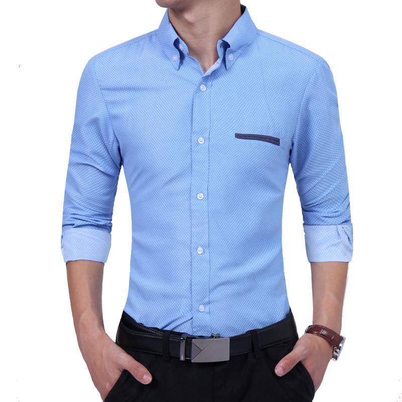 fecffb528 Compre Marca 2018 Moda Hombre Camisa Manga Larga Tops Polka Dot Camisa  Casual Juventud Marea Caballero Hombres Camisas De Vestir Delgado Hombres  XXL A  21.1 ...