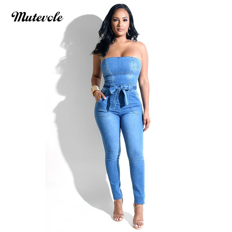 ccad31b0b75f 2019 Mutevole Women Strapless Denim Jumpsuit Off Shoulder Summer Sleeveless  Backless Jumpsuit One Piece Pants Jean Overalls From Derricky
