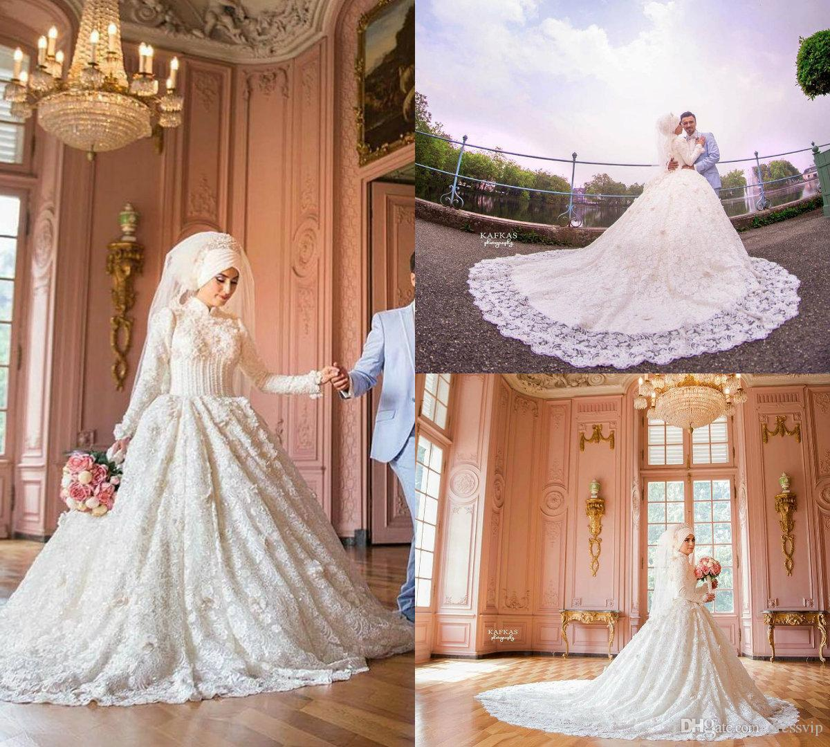 High Neck Long Sleeves Arabic Hijab Muslim Wedding Dresses Custom Made 2018  Romantic Lace Appliqued Beading Country Bridal Gowns Vestido De Wedding  Dress ... 2ccf1c58ba2c