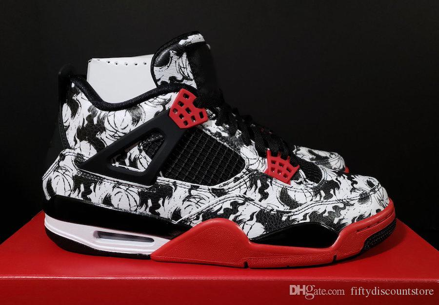 49fb4055f06 2018 New BQ0897-006 2018 Release New 4 Tattoo Black White Red 4S Men Basketball  Shoes With Original Box Casual Shoes 4 Basketball Shoes Basketball Shoes ...
