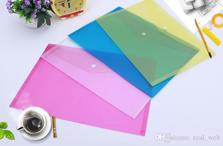 4 Sacos de arquivo de documento de cor A4 com botão Snap transparente arquivamento envelopes pastas de papel de arquivo de plástico 18C