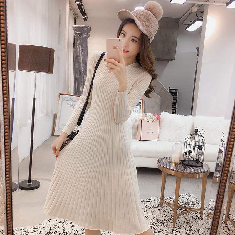 f528240b2917e 2019 2018 Autumn Winter Fashion Maternity Sweaters Dress A Line Slim  Knitted Pullovers Clothes For Pregnant Women Pregnancy Top From Yohkoh, ...