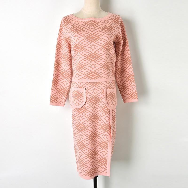 2018 Womens Sets 2018 Pink Jacquard Knit Short Sweater Mid Split