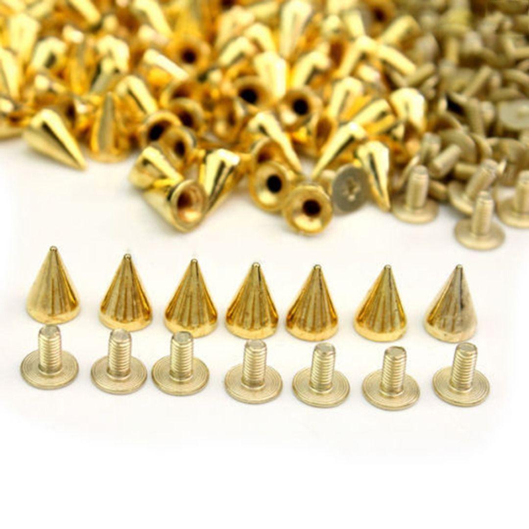 100pcs Spikes Cone Studs Metal 10mm Spots Rivet Cone Screw Studs Leathercraft DIY Craft Rock Clothes Handcraft Accessories