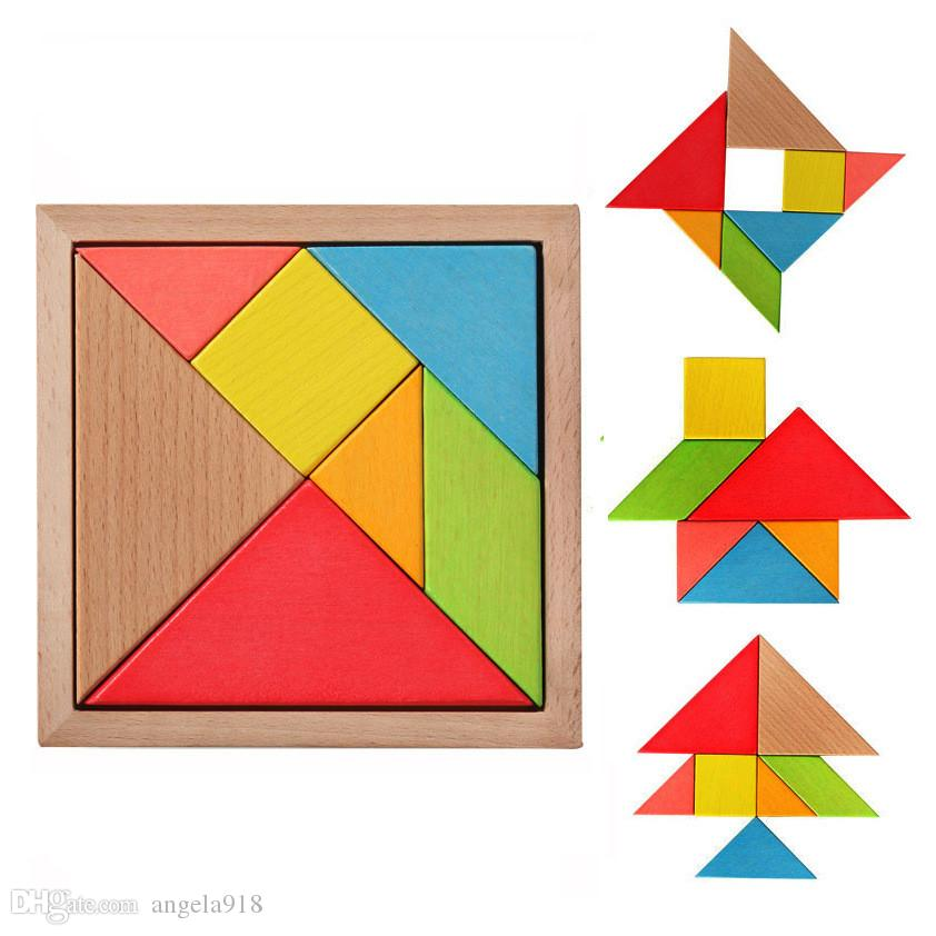 DHL Colorful Wooden Tangram 7 Pcs/set Jigsaw Square block IQ Game Intelligent Educational Toys best gifts for Kids H162