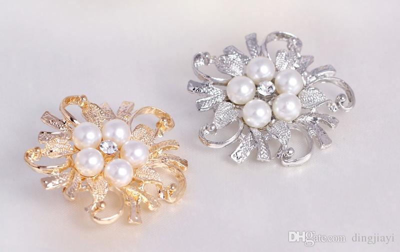New Arrival Stunning Wedding Bridal Gold & Silver Plated Flower Rhinestone Simulated Pearl Brooch Pin for Women Girls