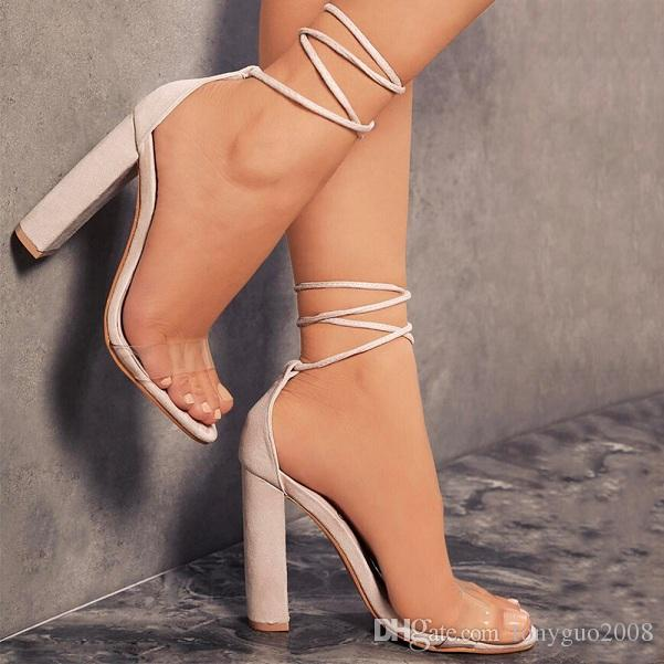European and American, hot style, transparent, suede, ankle strap, ultra high heel, thick heel, female sandals