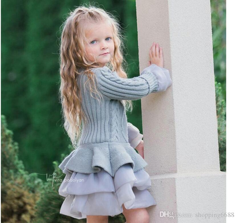 f5e9f9ffb3e Acheter 2019 Printemps Enfants Filles Pull Tricot Robes Bébé Fille Tulle  Dentelle TUTU Hiver Princesse Pull Pull Dressincinc Pull Pull Robe De   25.13 Du ...