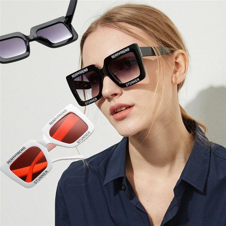 18e7cd8d18 Oversized Rectangular Sunglasses Retro Big Square Round Face Letters Black  Frame Tide Female Personality Sunglasses T1C297 Sunglasses Sun Glasses  Glasses ...