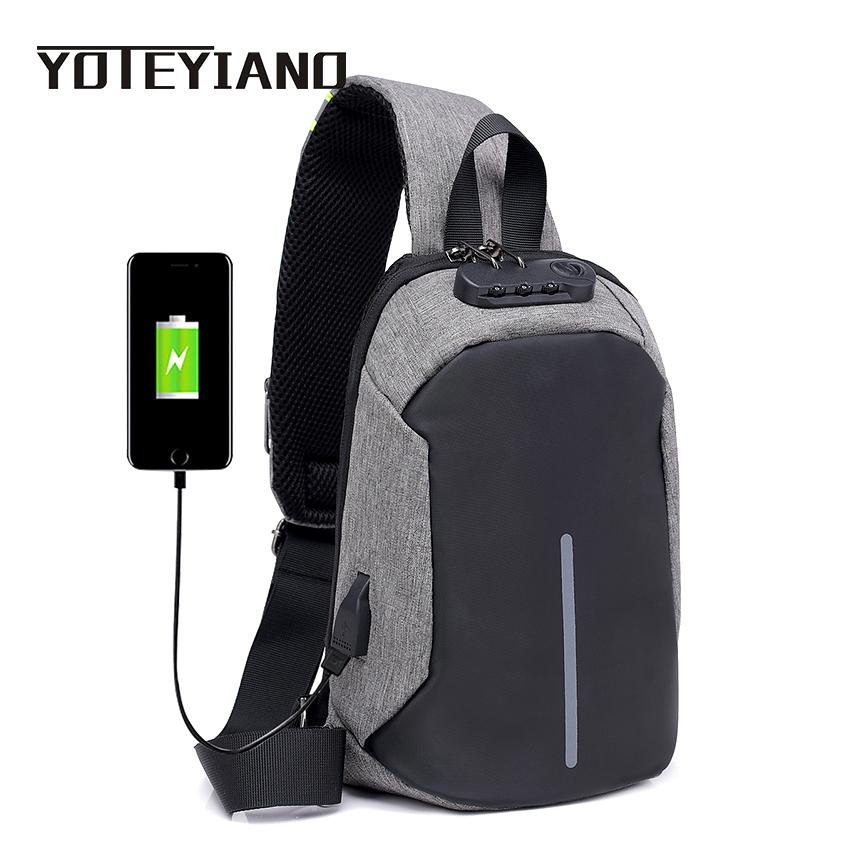 eb02f70d57 YOTEYIANO Chest Bag For Men Single Shoulder Strap Bags Designer Canvas Anti  Theft Lock Crossbody Bag Casual Male Messenger Cute Fanny Packs Leather  Fanny ...