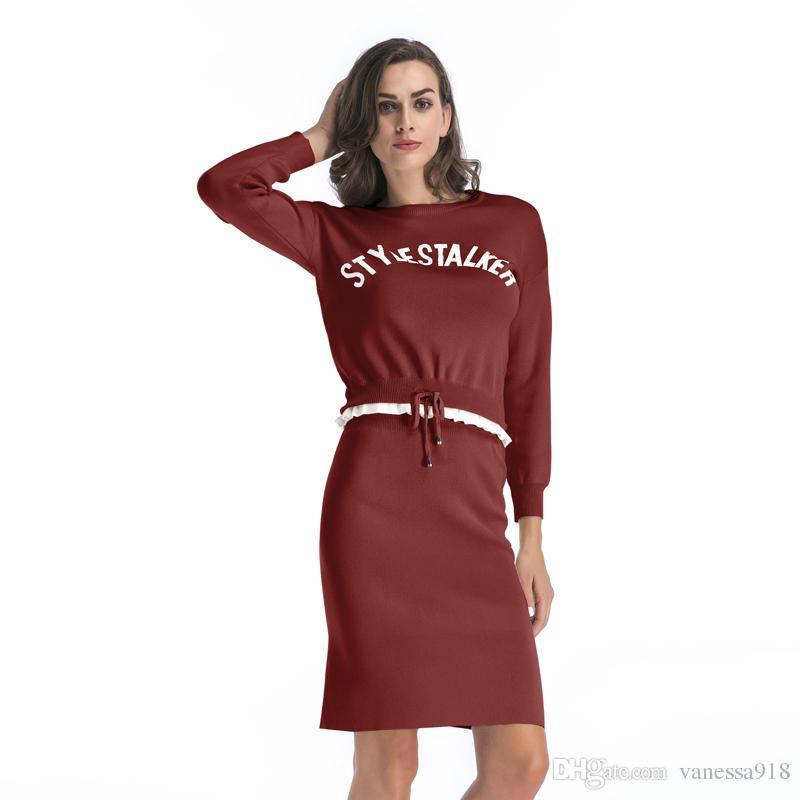 3eebe094c Compre Invierno 2 Unidades Vestido De Suéter Conjunto De Manga Larga De Las  Mujeres Desgaste De Oficina Casual Gris Pullover Vestidos De Punto Traje De  Ropa ...