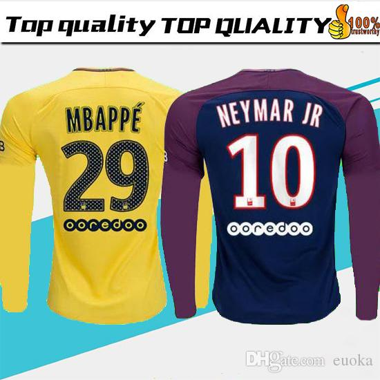 big sale 1a2c9 45b35 17 18 Long sleeve MBAPPE NEYMAR JR soccer jerseys 2018 CAVANI DANI ALVES  jersey 17 18 football shirt KIT survetement NEYMAR camisetas