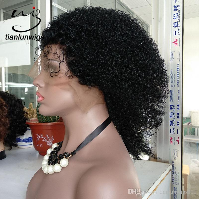in stock ! 14inch #1 jet black color afro curly human hair full lace wig for black women beautiful afro curl lace front wig