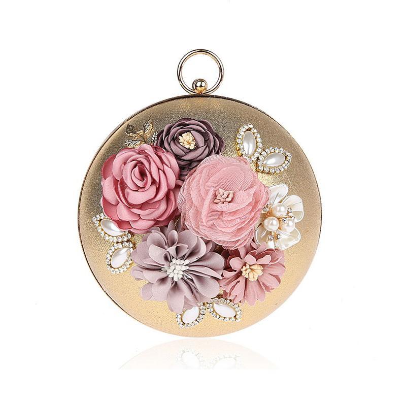 b643aa3ee Compre Feminino Mini Círculo Embreagem Saco De Noite Mulheres Moda Anel  Tote 3D Floral Pérolas De Diamante Rodada Bola Sacos De Maquiagem Minaud  Bolsa Z940 ...