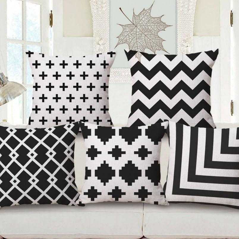 Black And White Wave Diamond Pillow Cases Gift Decor Home Decoration Emoji  Kid Throw Massager Decorative Vintage Pillows Cover