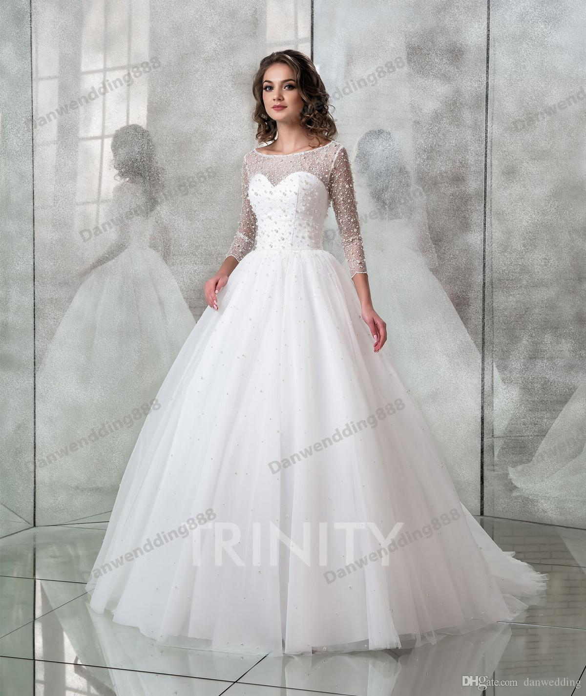 fad4402fa1 Discount Beauty White Tulle 3/4 Sleeves Lace Beads A Line Wedding Dresses  Bridal Pageant Dresses Wedding Attire Dresses Custom Size 2 16 ZW712171  Modest ...