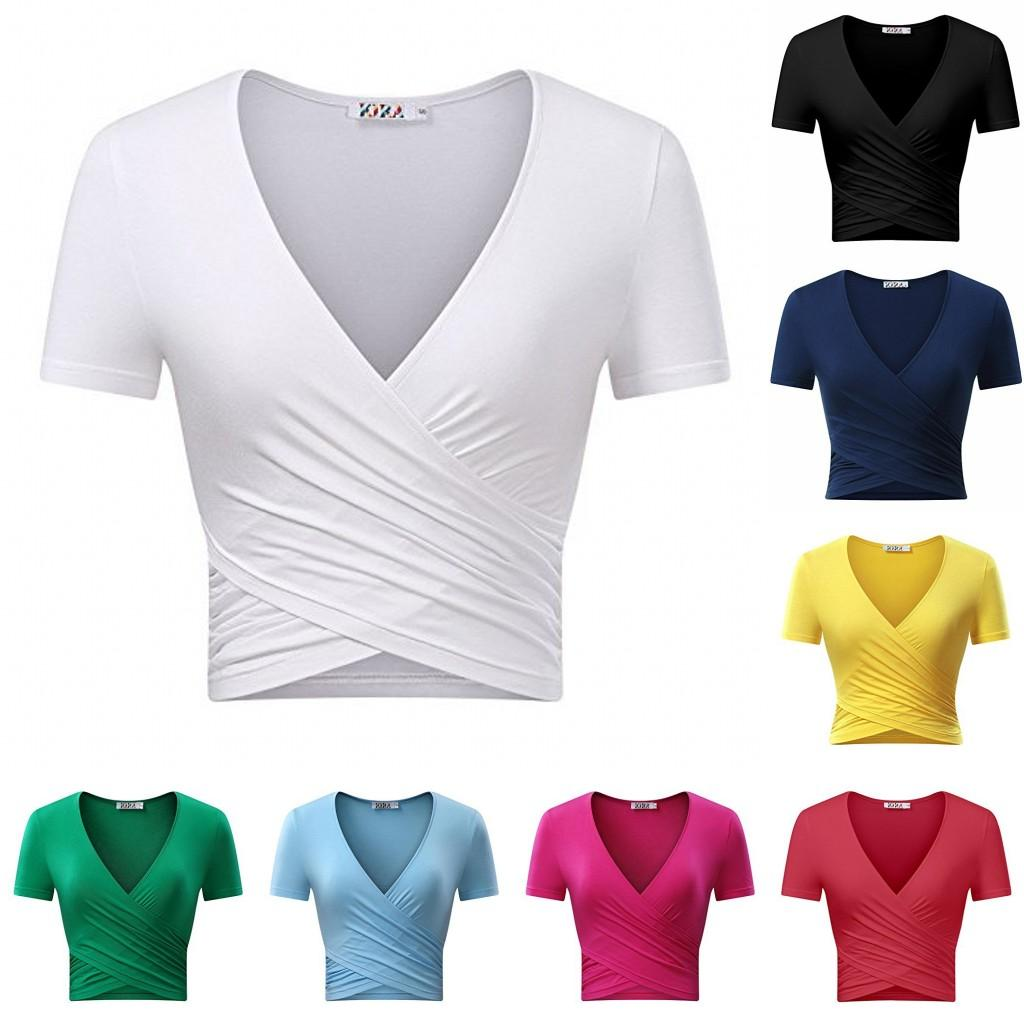 efc6bc10a2795 2018 Hot Newest Women S Solid T Shirt With Deep V Neck Short Sleeve Unique  Cross Wrap Slim Fit Crop Tops 100 Funny T Shirt Slogans Shirt Shirt From ...