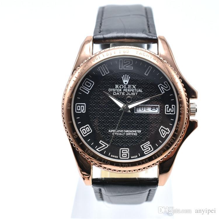 aa562983141 Compre Venda Quente Famosa Marca De Relógios De Couro Dos Homens Data  Automática De Luxo Relógio De Quartzo Movimentos Clássicos Casuais Relógios  Vestido ...