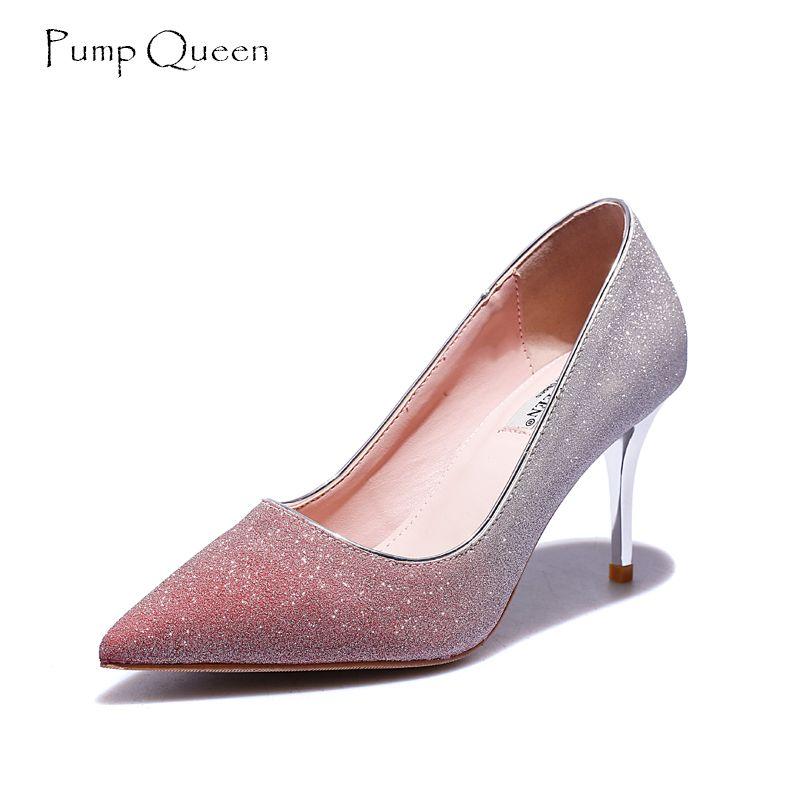 Grosshandel Pumpqueen Frauen Heels High Heels Elegant Silber Rosa