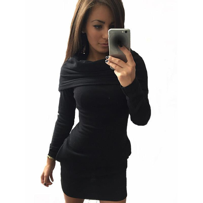 2018 Women Sexy Hooded Dress In Party Club Long Sleeve Autumn Winter ... 471db8c181