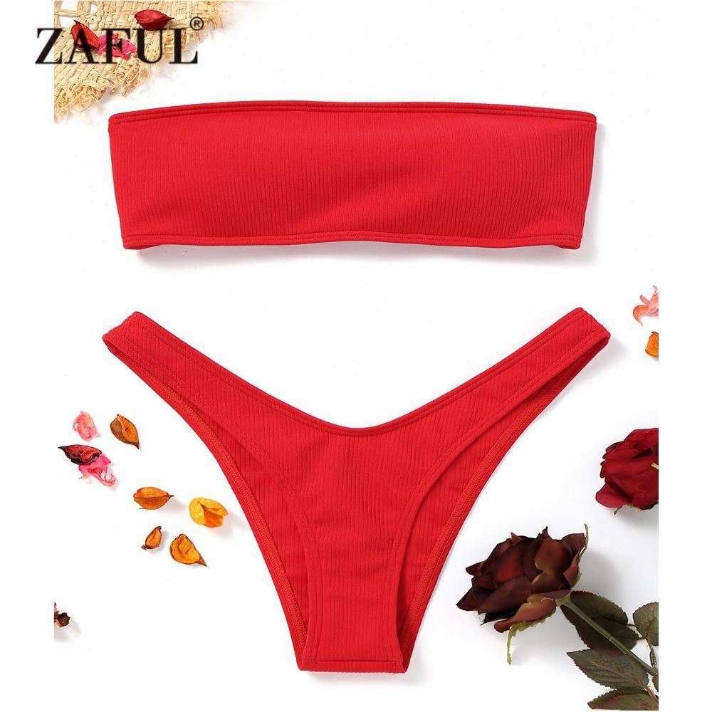 4de9d38f837d0 2019 ZAFUL New Women Ribbed High Cut Bandeau Bikini Set Swimwear Women  Swimsuit Strapless Bikini Padded Bathing Suit Brazilian Biquni From Ppkk