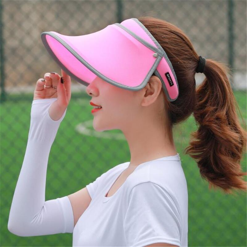4bc4593f536 Women Sun Hat Wide Brim Anti UV Female Sunscreen Shade Hat High Elastic  Cute Girl Summer Empty Top Visor Cap Fishing Casual Cap Trilby Hats Hat  Store From ...