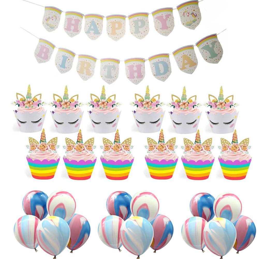 Compre Desenhos Animados Confetti Balões Kit Bonito Das Crianças  Aniversário Bandeira Pull Bandeira Balão Bolo Border Decor Birthday Party  Supply De ... 7540e95d40abc
