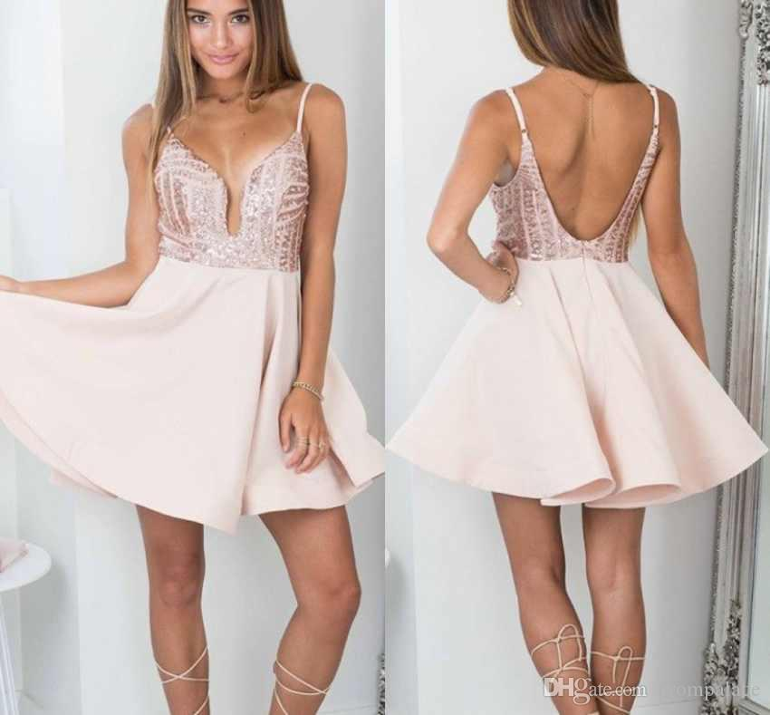 6a3d41f9f44 Sexy Straps Sequins Short Homecoming Dresses Sleeveless Backless A Line  Cocktail Party Prom Gowns 100% Real Image Short Pink Homecoming Dresses  Short Poofy ...