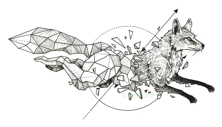 waterproof temporary tattoo fox wolf wolves whale owl geometric animal tatto flash tatoo fake